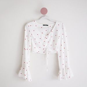Forever 21 White Crop Blouse with Red Hearts